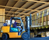 Forklift moving Pinelli product.